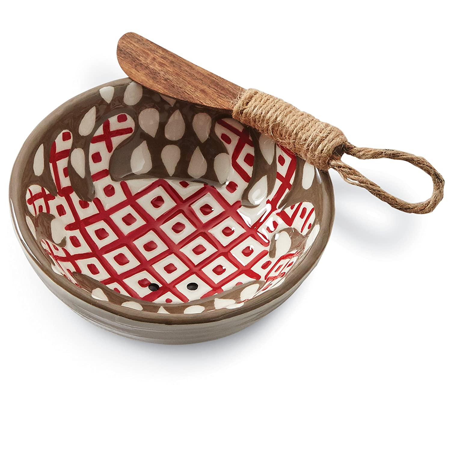 Christmas Tablescape Décor - Mud Pie hand-painted red crab ceramic dip bowl set with wooden spreader