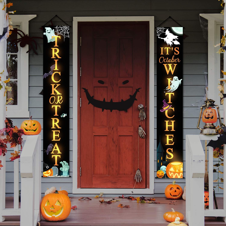 Greatingreat Halloween Decorations Outdoor,Trick or Treat Set Includes Trick or Treat Banner for Front Door Display for Garden,Durable Halloween Home Decor.