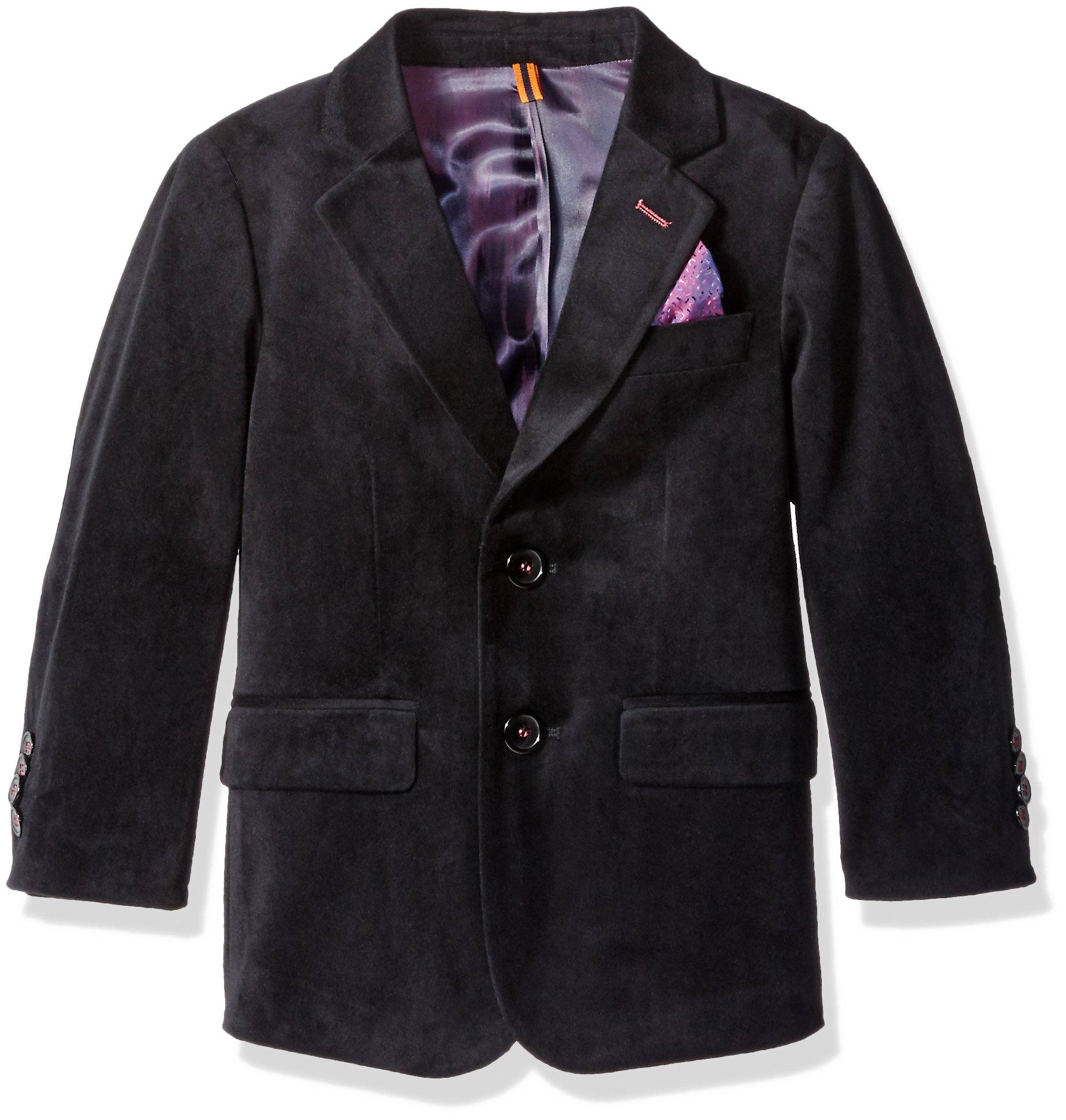 Isaac Mizrahi Boys' Big Boys' Single-Breasted Velvet Blazer, Midnight Black, 16 by Isaac Mizrahi