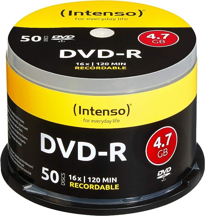 Intenso 4101155 - Pack de 50 DVD-R, 16x, 4.7 GB: Amazon.es: Electrónica