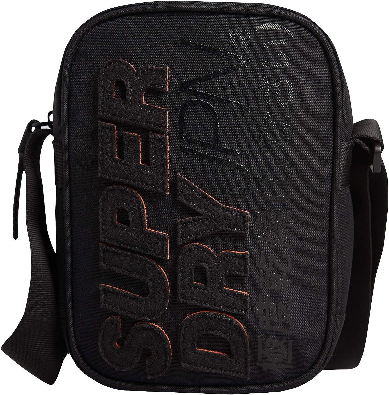 SuperDry Unisex Messenger Bag Sport Pouch Bag Shoulder Bag Black