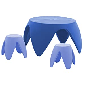 ECR4Kids Blossom Table and Stool Indoor/Outdoor Furniture Set, Blue (3-piece)