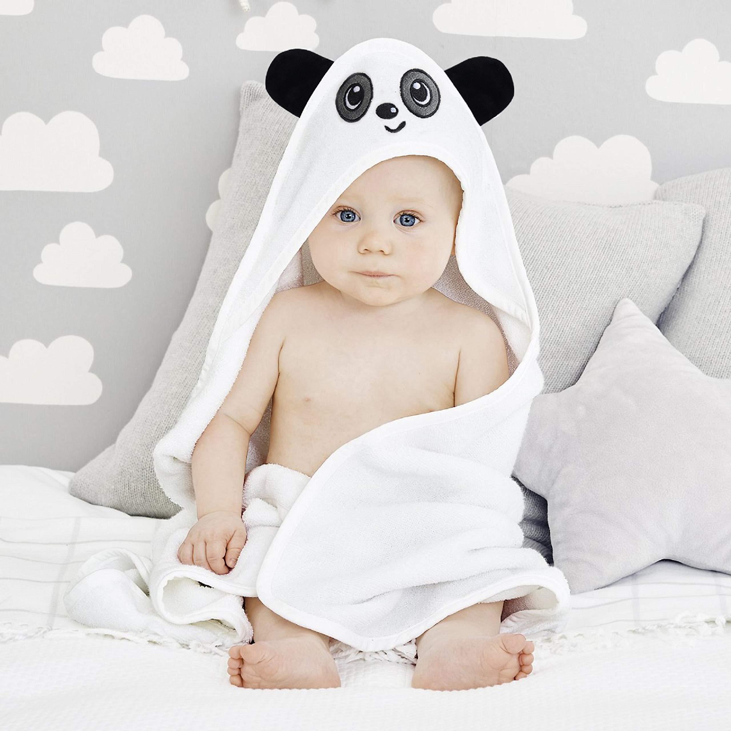Baby Hooded Premium Quality Organic Bamboo Bath Towel (35'' x 35'', White) by VALIANT