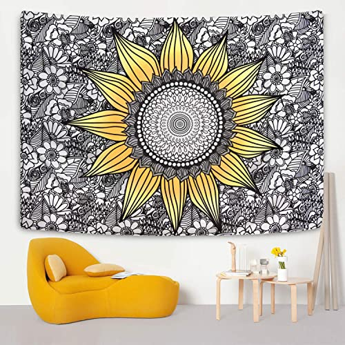 Livole Sunflower Tapestry Yellow and Black Floral Tapestry Plants Flower Tapestries Mandala Tapestry Wall Hanging for Room 70.9 92.5 inches
