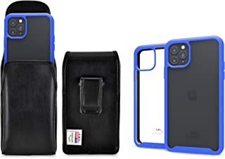 product image for Turtleback Tough Defense Case/Holster Combo Designed for New iPhone 11 Pro Max (2019) 6.5 Inch Military Grade Drop Tested Ultra Clear Back Fitted in Leather Pouch Executive Belt Clip-Vertical/Blue