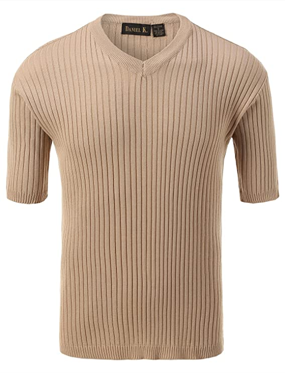 1940s Style Mens Shirts, Sweaters, Vests 7 Encounter Mens V Neck Short Sleeve Large Ribbed Sweater $35.99 AT vintagedancer.com