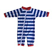 SwimZip Little Boy Long Sleeve Sunsuit with UPF 50 Sun Protection, Blue Crab, 0-6 Month