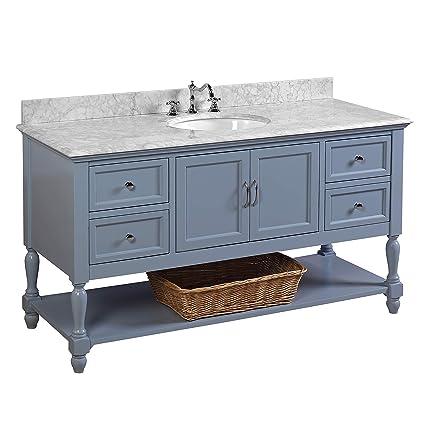 944e63e7dbd Beverly 60-inch Single Bathroom Vanity (Carrara Powder Blue)  Includes  Authentic