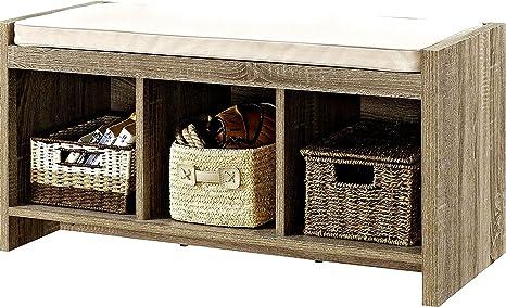 Amazon.com: Banco de almacenamiento cojín madera de roble de ...