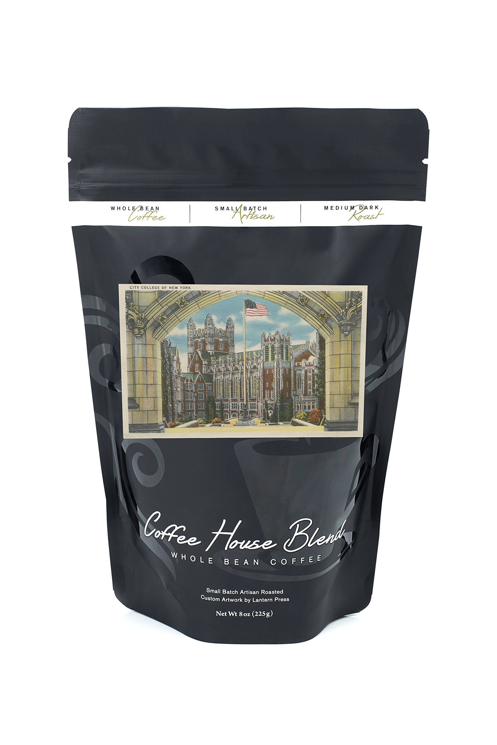 New York, NY - City College View of Flag (8oz Whole Bean Small Batch Artisan Coffee - Bold & Strong Medium Dark Roast w/Artwork)