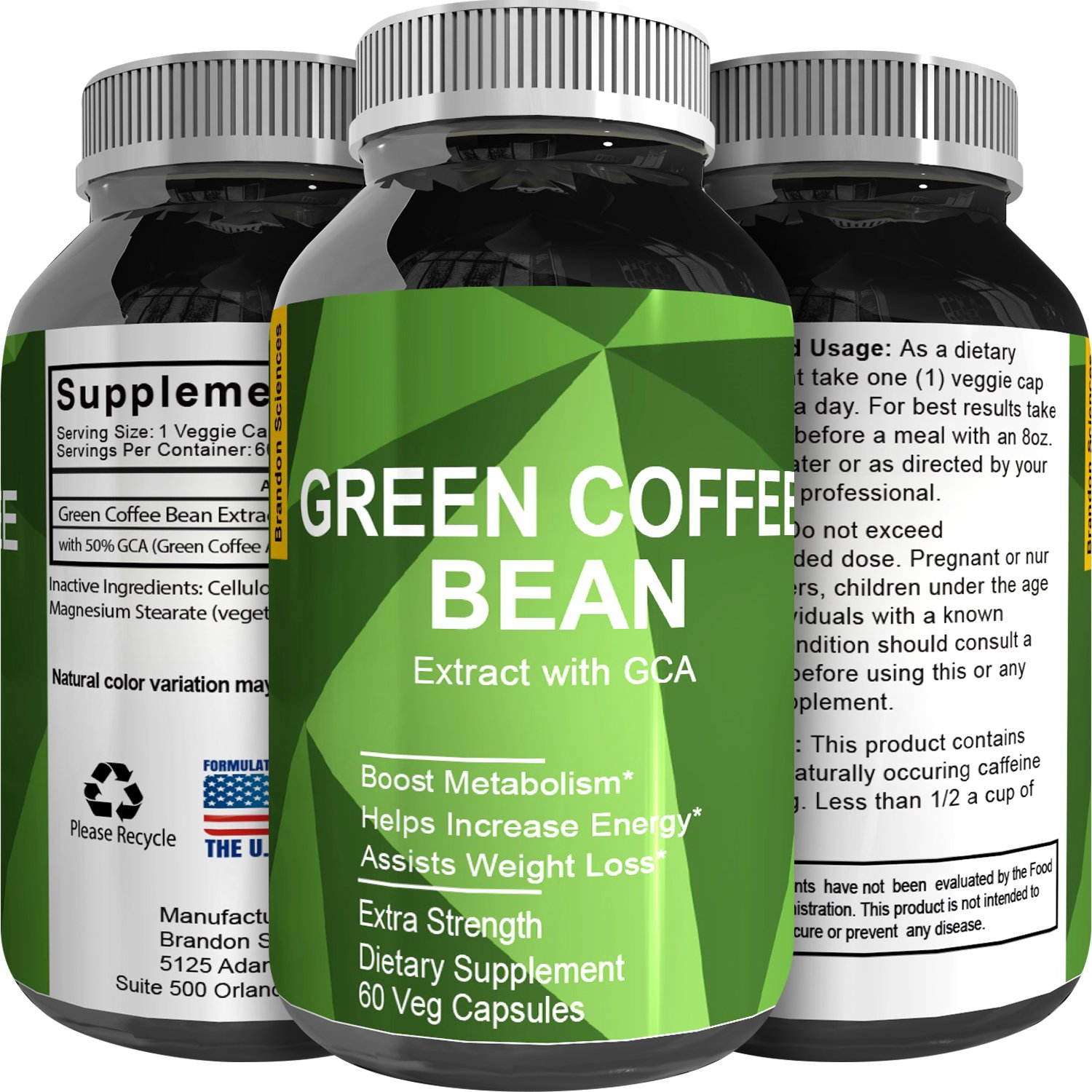 Pure Green Coffee Bean Extract – Standardized to 50% Chlorogenic Acid – Weight Loss Supplement for Men & Women – Burns Both Fat and Sugar – High Grade Natural Ingredients by Brandon Sciences
