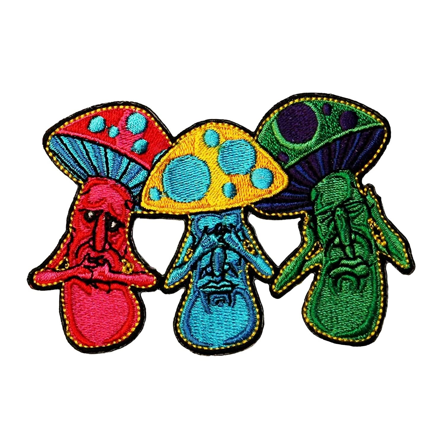 Mushroom No Evil See Hear Speak Iron On Hippie Patch Cool-Patches