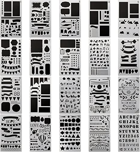 BAISDY 24pcs Journal Stencil Plastic Planner Set Number Alphabet Letter Stencil for Journaling Painting Scrapbooking Drawing