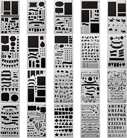Scrapbooking Stencil Set Stencil Set for Cards Layering Stencil Set 4 PCS Stencil Set Beautiful Stencil Set Journals