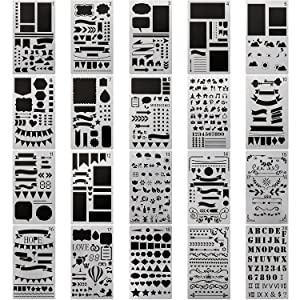 20 PCS Journal Stencil Plastic Planner Set for Journal Notebook Diary Scrapbook DIY Drawing Template Journal Stencils 4x7 Inch
