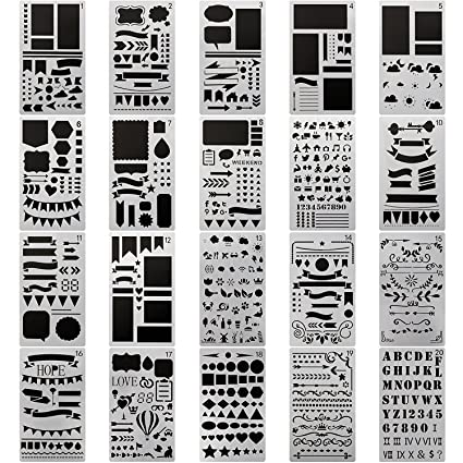 amazon com 20 pcs journal stencil plastic planner set for journal