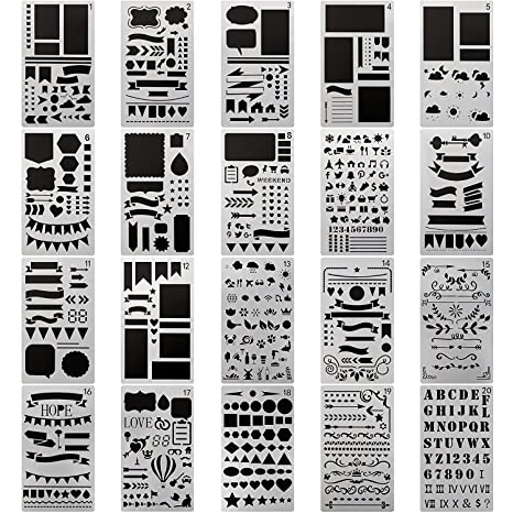 Amazon Com 20 Pcs Journal Stencil Plastic Planner Set For Journal