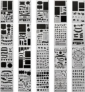 20 PCS Journal Stencil Plastic Planner Set for Journal Notebook Diary Scrapbook DIY Drawing Template Journal Stencils 4x7 Inch