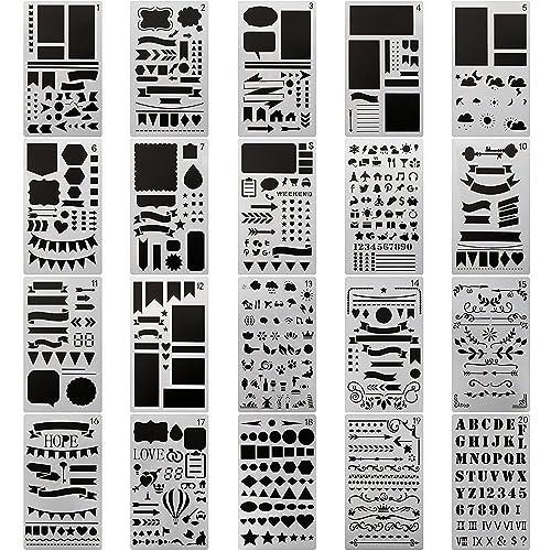20 PCS Journal Stencil Plastic Planner Set for Journal/Notebook/Diary/Scrapbook DIY Drawing Template Journal Stencils 4x7 Inch