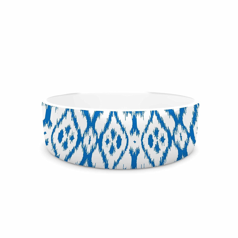 KESS InHouse Victoria Krupp Vk_Ikat  bluee Tribal Pet Bowl, 7