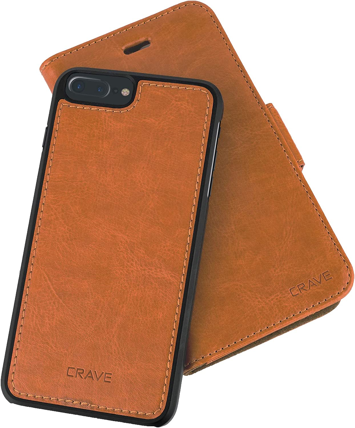 iPhone 7/8 Plus Leather Wallet Case, Crave Vegan Leather Guard Removable Case for Apple iPhone 7/8 Plus (5.5 Inch) - Brown