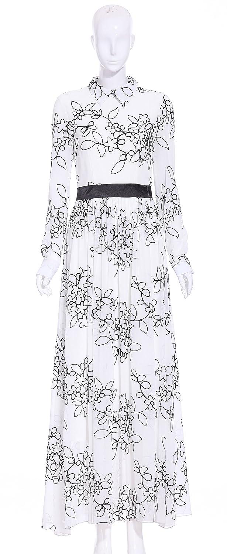 Yacun Women's Long Sleeve Patchwork Maxi Long Swing Chiffon Dress