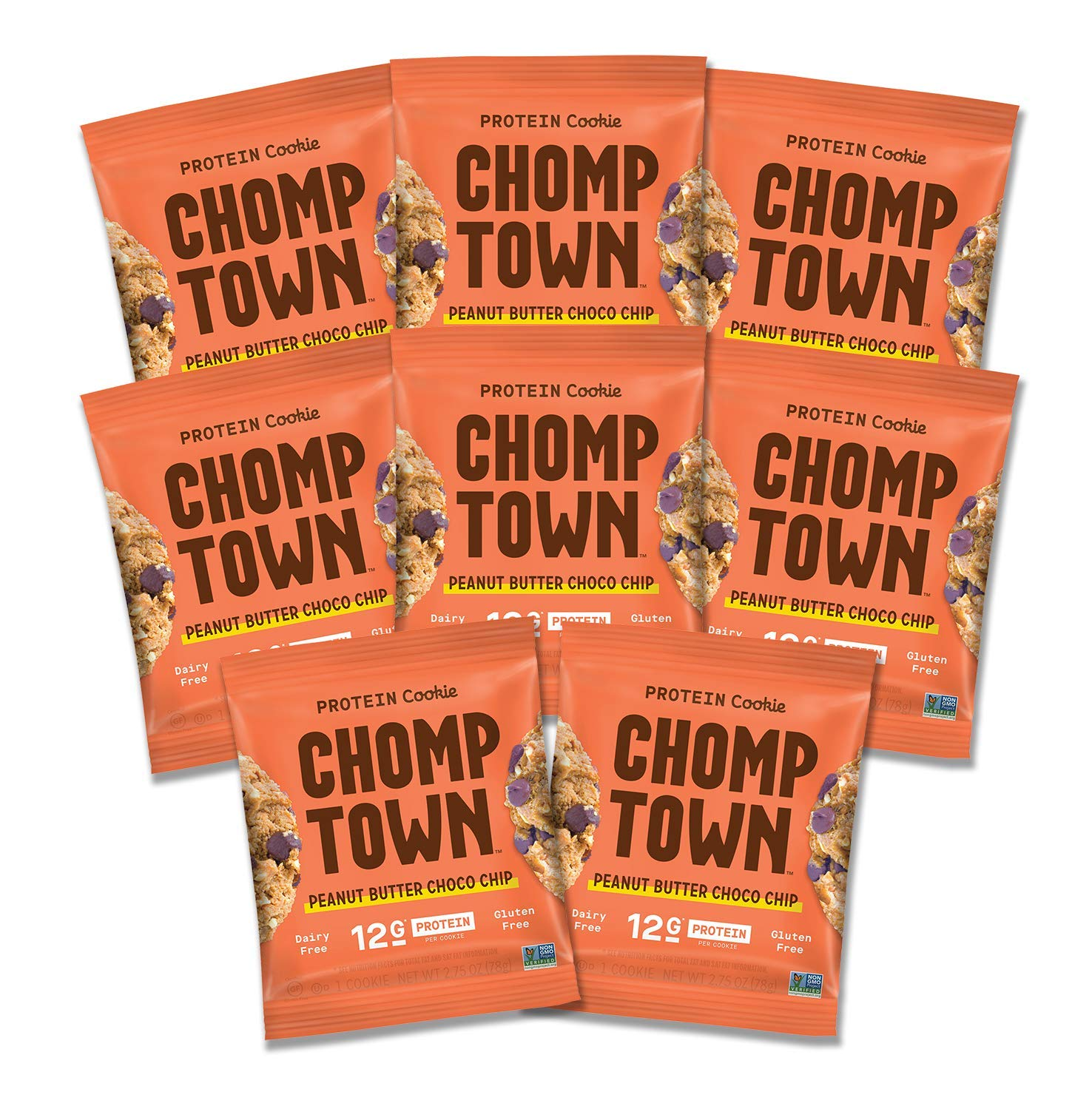 Chomptown | Peanut Butter Chocolate Chip | High-Protein Cookie | 12g Protein | Gluten-Free | Dairy-Free | Non-GMO | Fair Trade | 2.75 oz (Pack of 8)