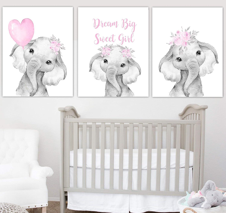Baby Elephant Wall Art Baby Girl Nursery Wall Art Dream Big Sweet Girl Elephant Decor Baby Animals Baby Nursery Decor Amazon Ca Generic