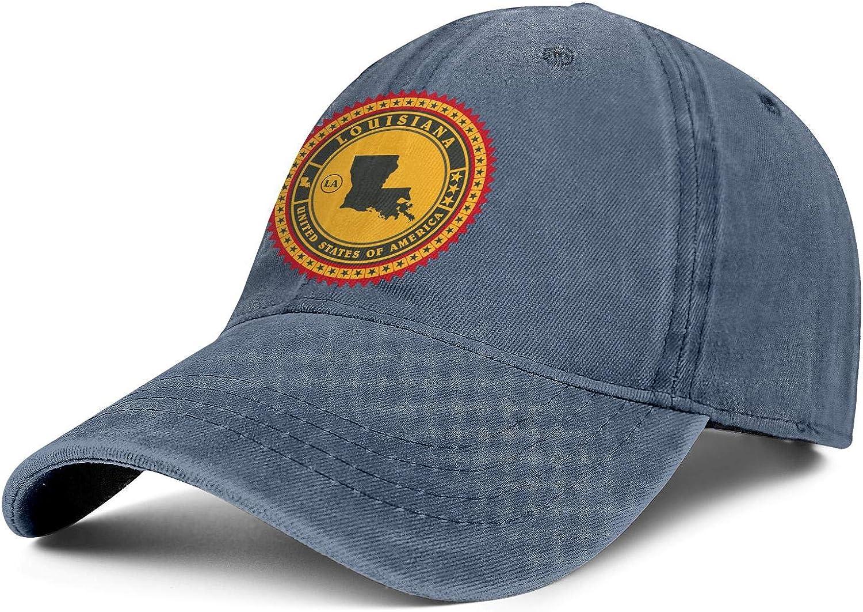 Vintage Label of Louisiana Denim Snapback Hats Men//Women Vintage Cowboy Sports Hats
