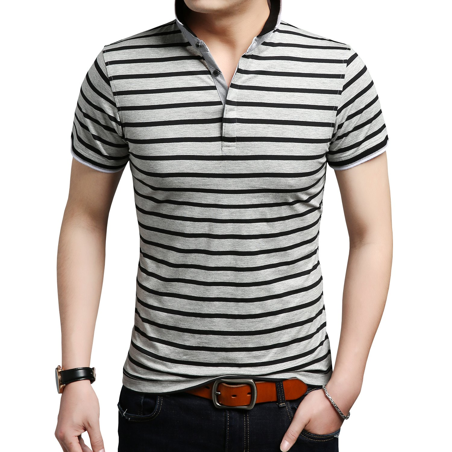 COOFANDY Mens Short Sleeve Stripe Collar Polo Shirt Classic Causal Business Slim Fit T Shirts