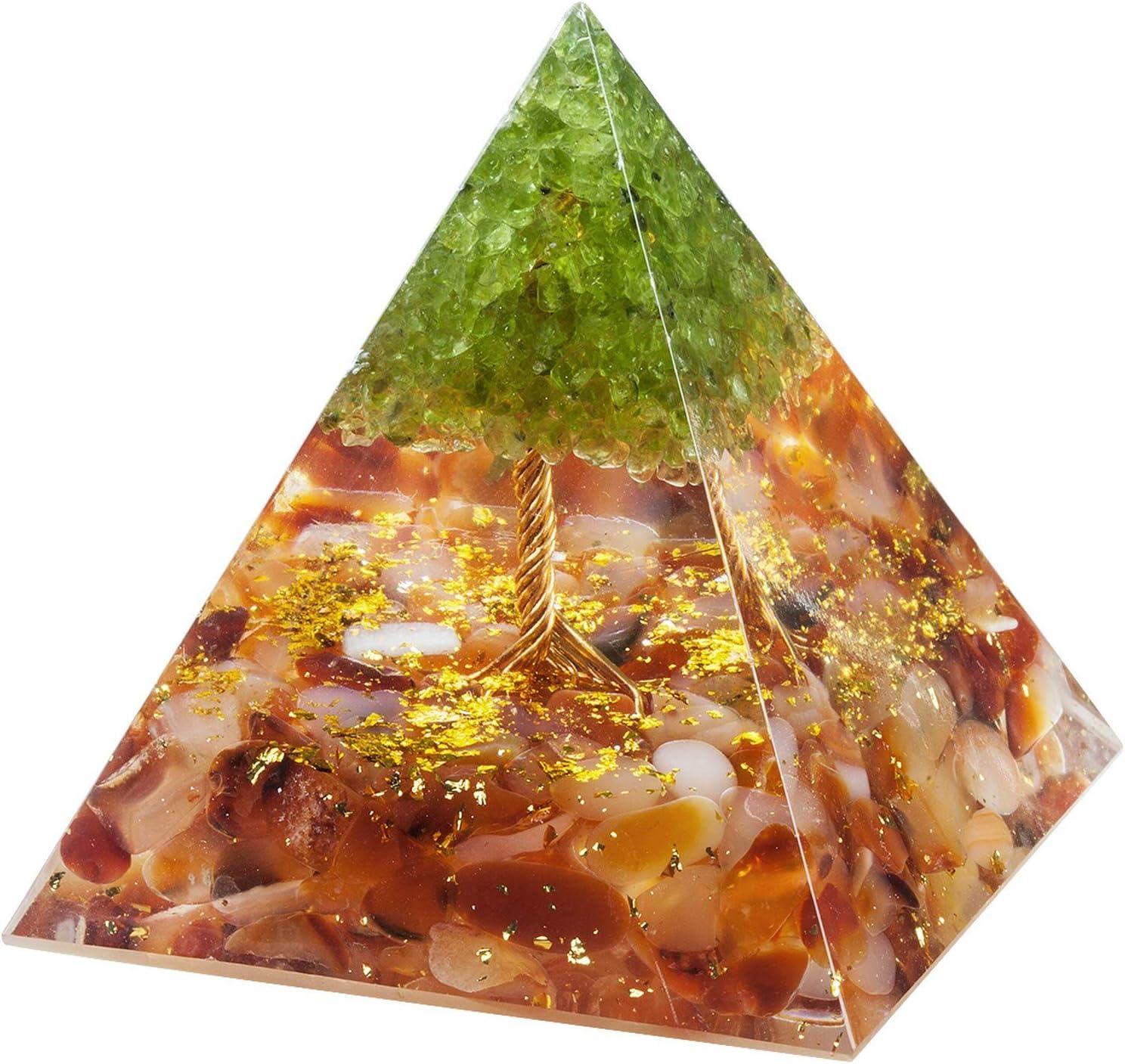Nupuyai Tree of Life Peridot and Carnelian Crystal Orgone Pyramid Stone for Protection, Reiki Healing Chakra Meditation Energy Generator for Home Decor