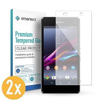 smartect 2X Protector de Pantalla de Cristal Templado para Sony Xperia Z1 Lámina Protectora Ultrafina de