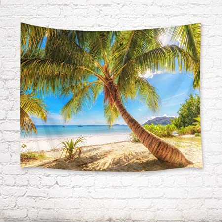 YISURE Tropical Palm Leaf Coconut Trees Tapestry Wall Hanging 80X60Inch Boat Ocean by The Shore and Blue Sky Wall Tapestry for Dorm Room
