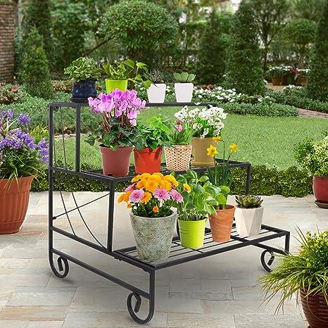 Amazon & ZENY 3 Tier Metal Plant Stand Indoor Outdoor Flower Pot Rack Stair-Step Style Planter Storage Didsplay Shelf