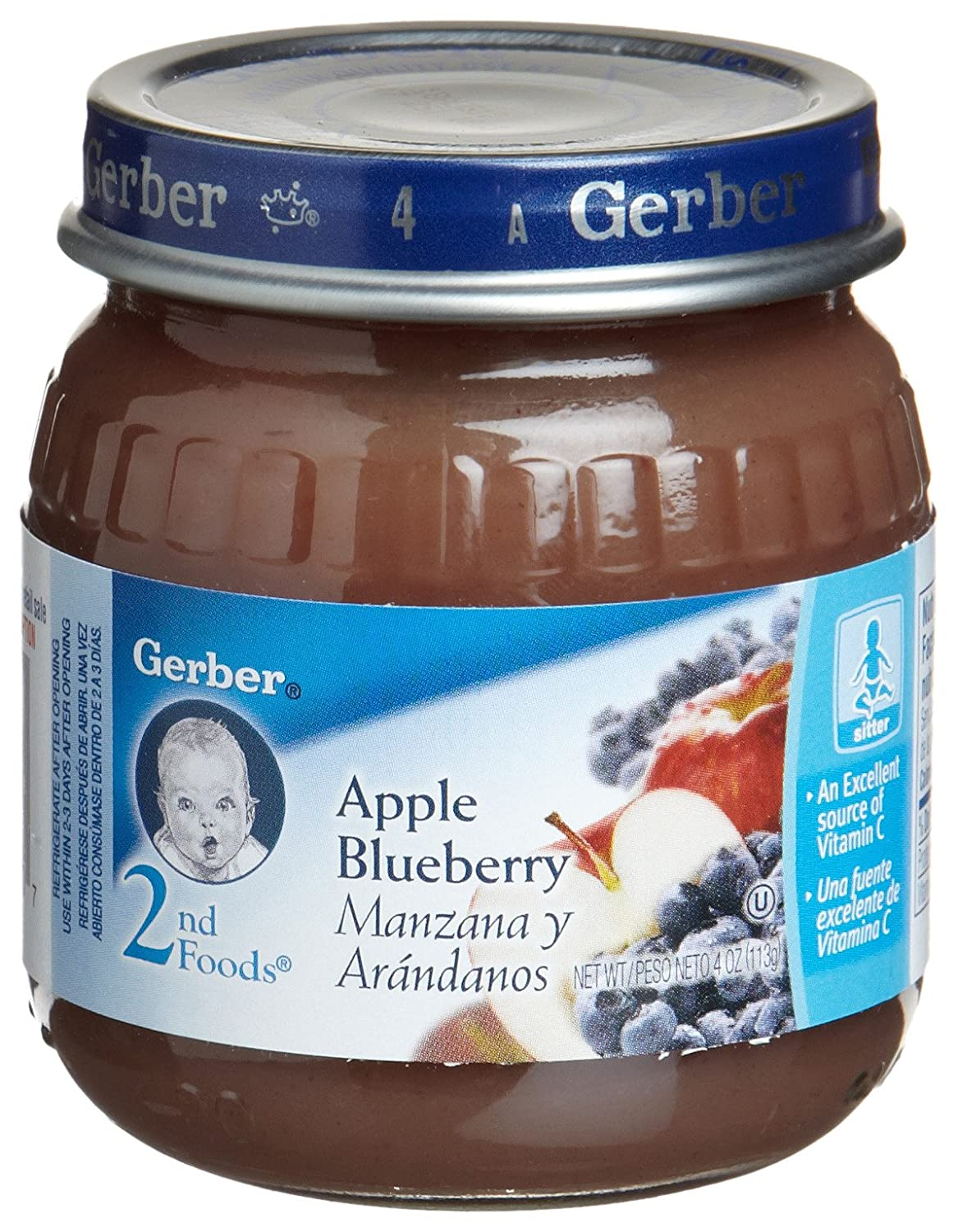Gerber 2nd Foods Apple & Blueberry, 4-Ounce Jars (Pack of 12 ...