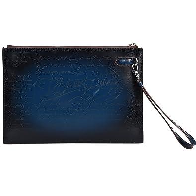 f912b20f961 TERSE Portefeuille Sac à Main de Poignet en Cuir pour Homme Pochette  Enveloppe Grand Embrayage