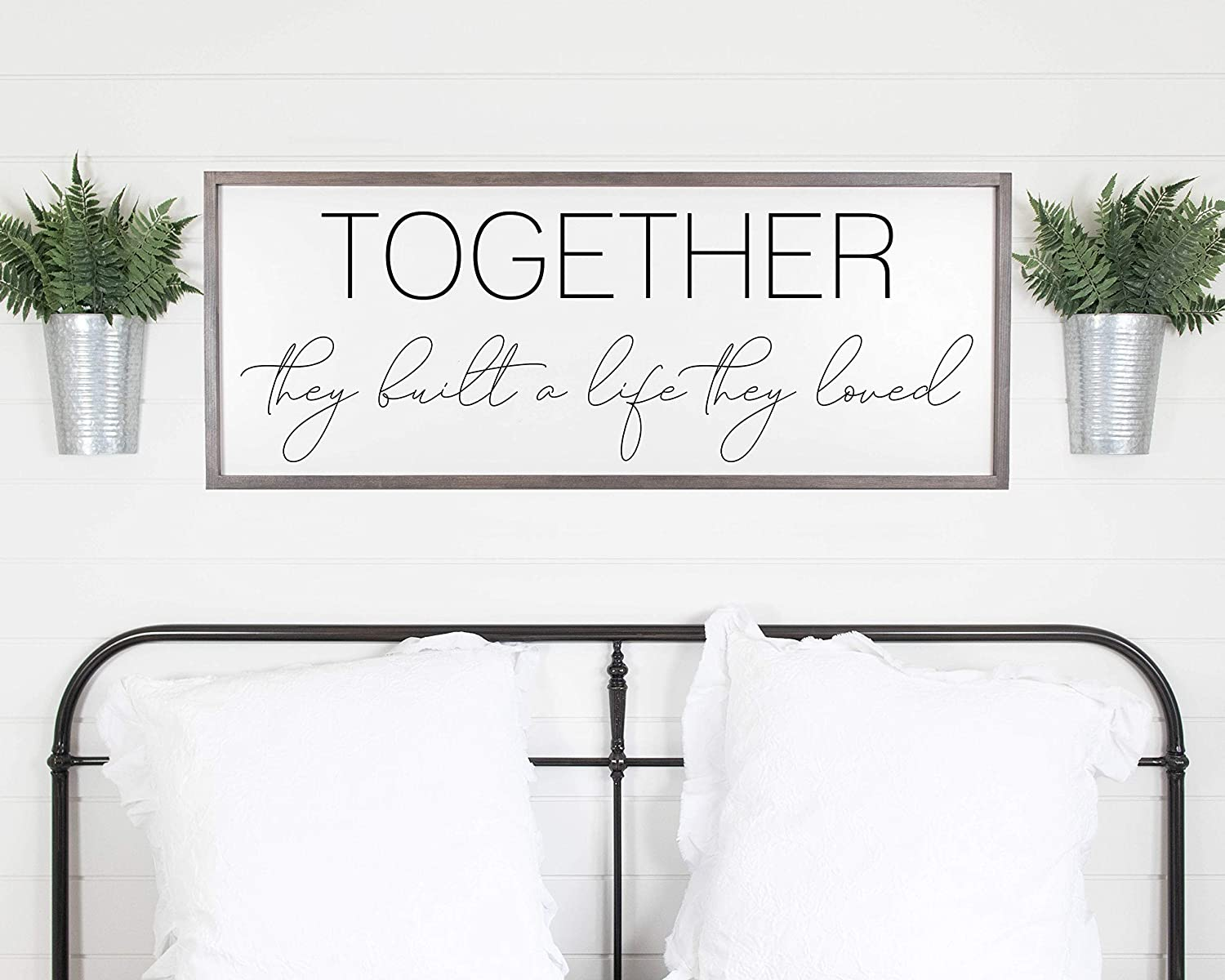 Ced454sy And So Together They Built A Life They Loved Sign Bedroom Wall Decor Sign Above Bed Master Bedroom Sign Framed Wood Signs Wedding Gift Amazon Co Uk Garden Outdoors
