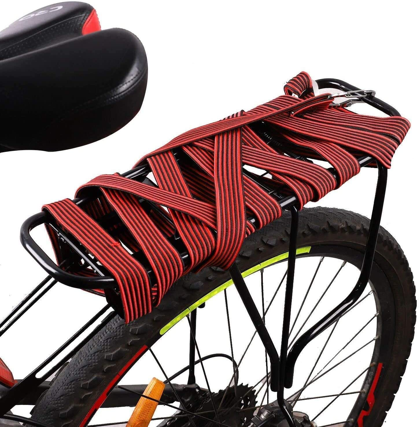 Grneric Long Bungee Cords with Hooks,Bungee Cord,Set Color Flat Stripe Nylon Tension Elastic Band,for Bike Rack//Strollers//Bike//Trash Cans//Truck Tarps//Boats//Trucks//Luggage//Hand Carts
