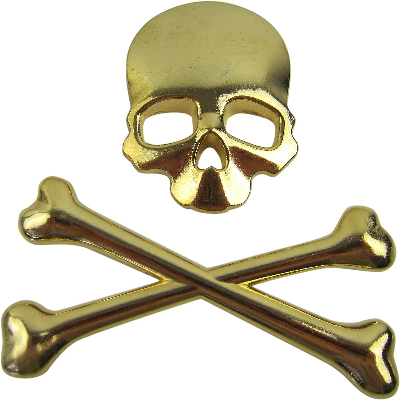 Exklusives Emblem Sticker Aufkleber Metall Knochen Auto Skull Totenkopf In Gold Auto