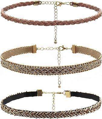 TCYIN Gargantilla Collares para Mujer Collar de Cuero Terciopelo Ajustable Collar de Cuentas Vintage Gargantilla Collar para Mujeres Niñas Pack de 3: Amazon.es: Joyería