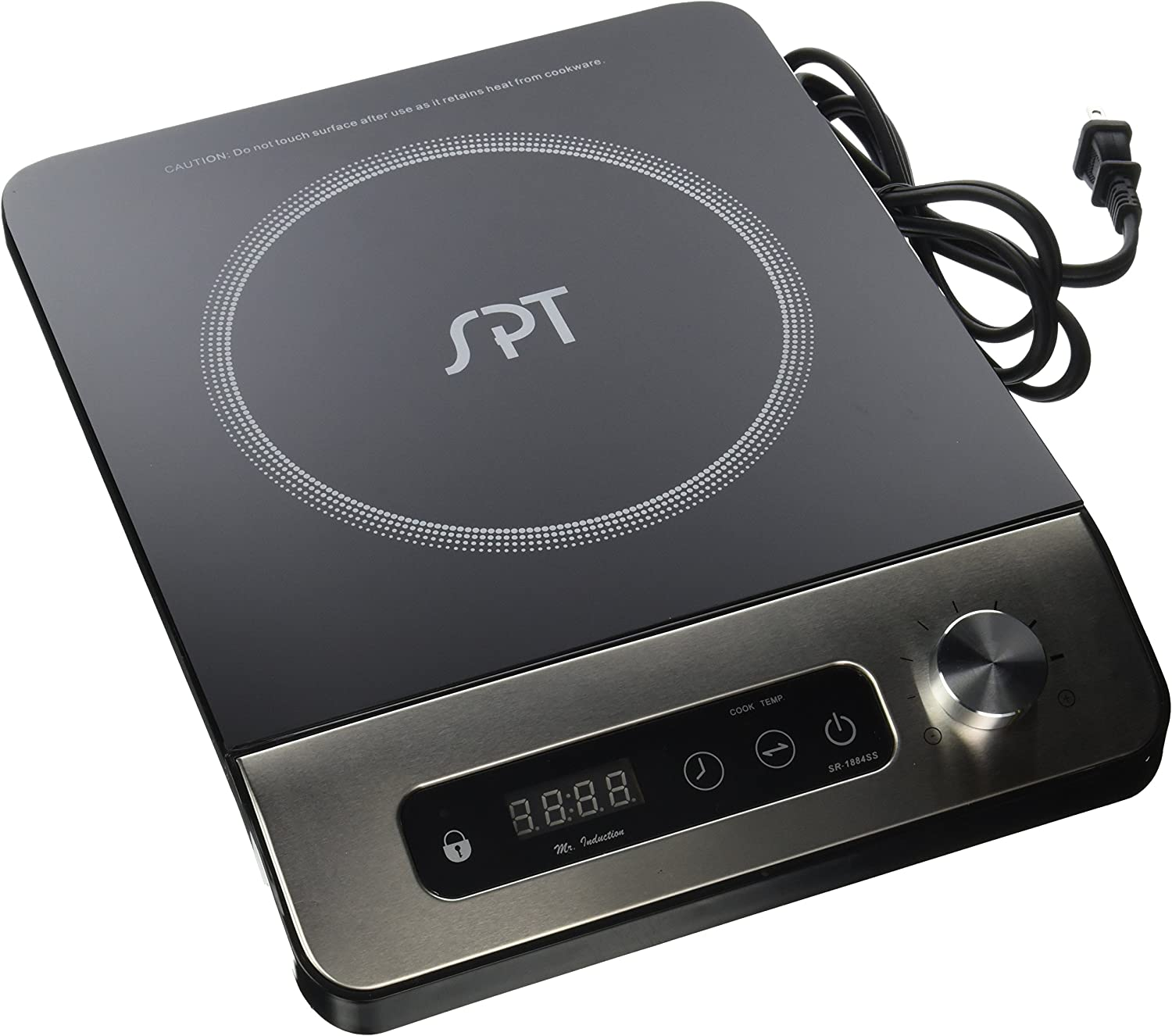 Black one size SPT SR-1884SS Stainless Steel Panel /& Control 1650W Induction Cooktop with Control Knob