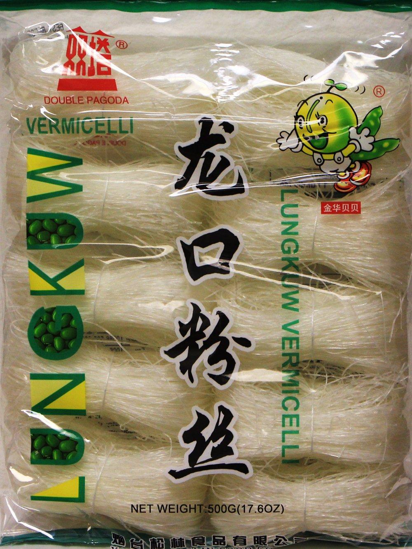 龍口粉絲Double Pagoda LungKuw Mung Been Threads Noodle -Vermicelli, Thin 17.6 oz