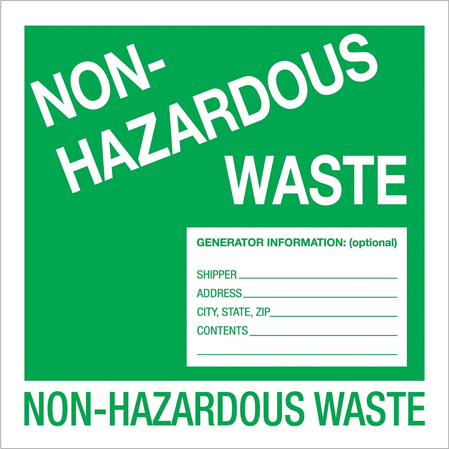1 Roll of 500 Labels Boxes Fast Tape Logic Labels,Non-Hazardous Waste Green//White, 6 x 6