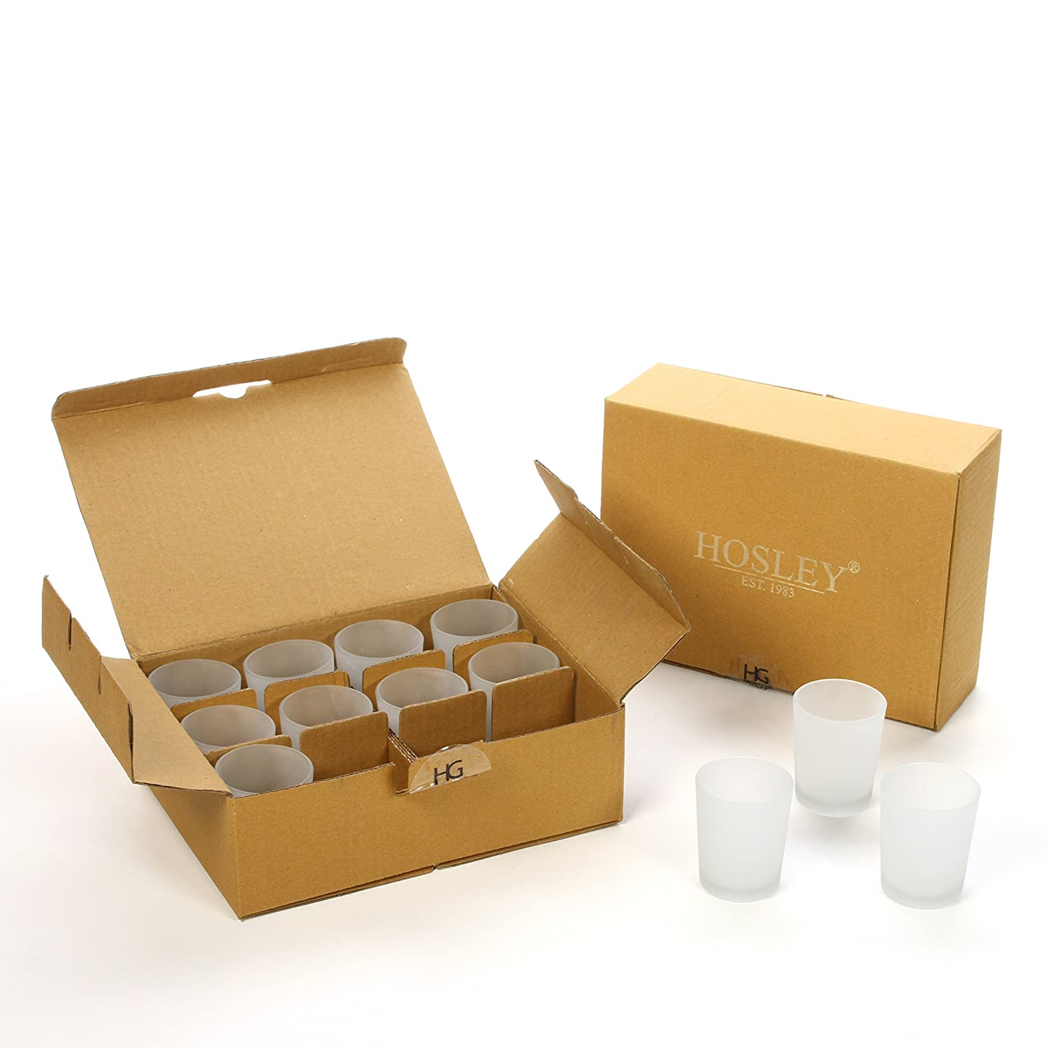 Hosley Value Pack of 24 Frosted Glass Votive, Tealight Holder. Ideal for Parties, Aromatherapy, Spa, Wedding FBA_FBA-G45653ONC-1-EA