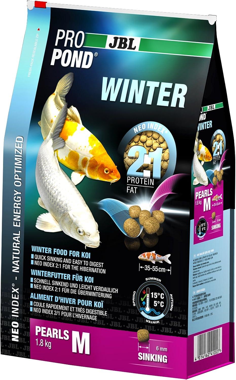 JBL Comida de Invierno para Koi, con Perlas sumergibles, Forro de Temporada, ProPond Invierno, Talla M, 1,8 kg