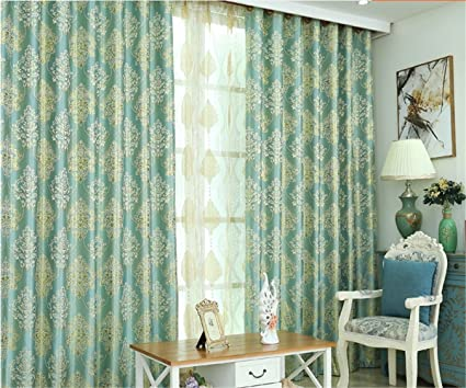 Jameswish European Simple Newest Curtains For Living Room Gold Jacquard Hooked Blackout 1 Panel Window Curtain