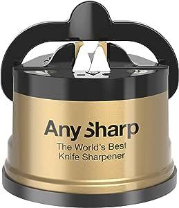 AnySharp Knife Sharpener, LTD Edition Gold, The World's Best As Seen on QVC, Original Patented Tungsten Carbide Pro Sharpening Stone Blades