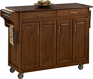 Create-a-Cart Warm Oak Finish with Cherry Top by Home Styles