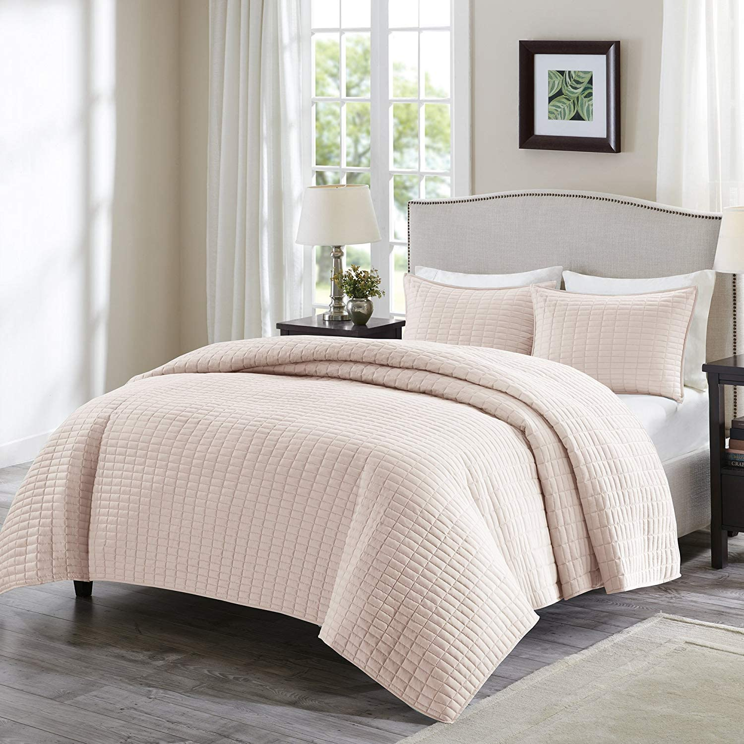 Comfort Spaces Kienna 3 Piece Quilt Coverlet Bedspread Ultra Soft Hypoallergenic Microfiber Stitched Bedding Set King Size Taupe