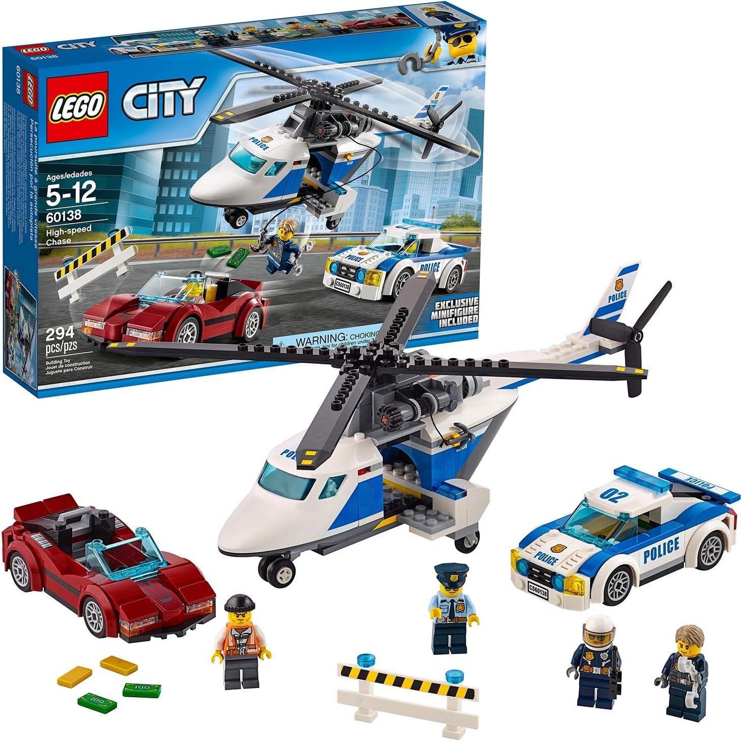LEGO City Police - Persecución por la Autopista, Set de Construcción de Policia, Incluye Helicóptero y Coche Deportivo de Juguete (60138)